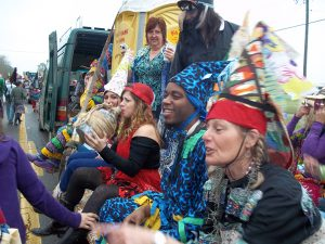 Revellers at Cajun Courir de Mardi Gras